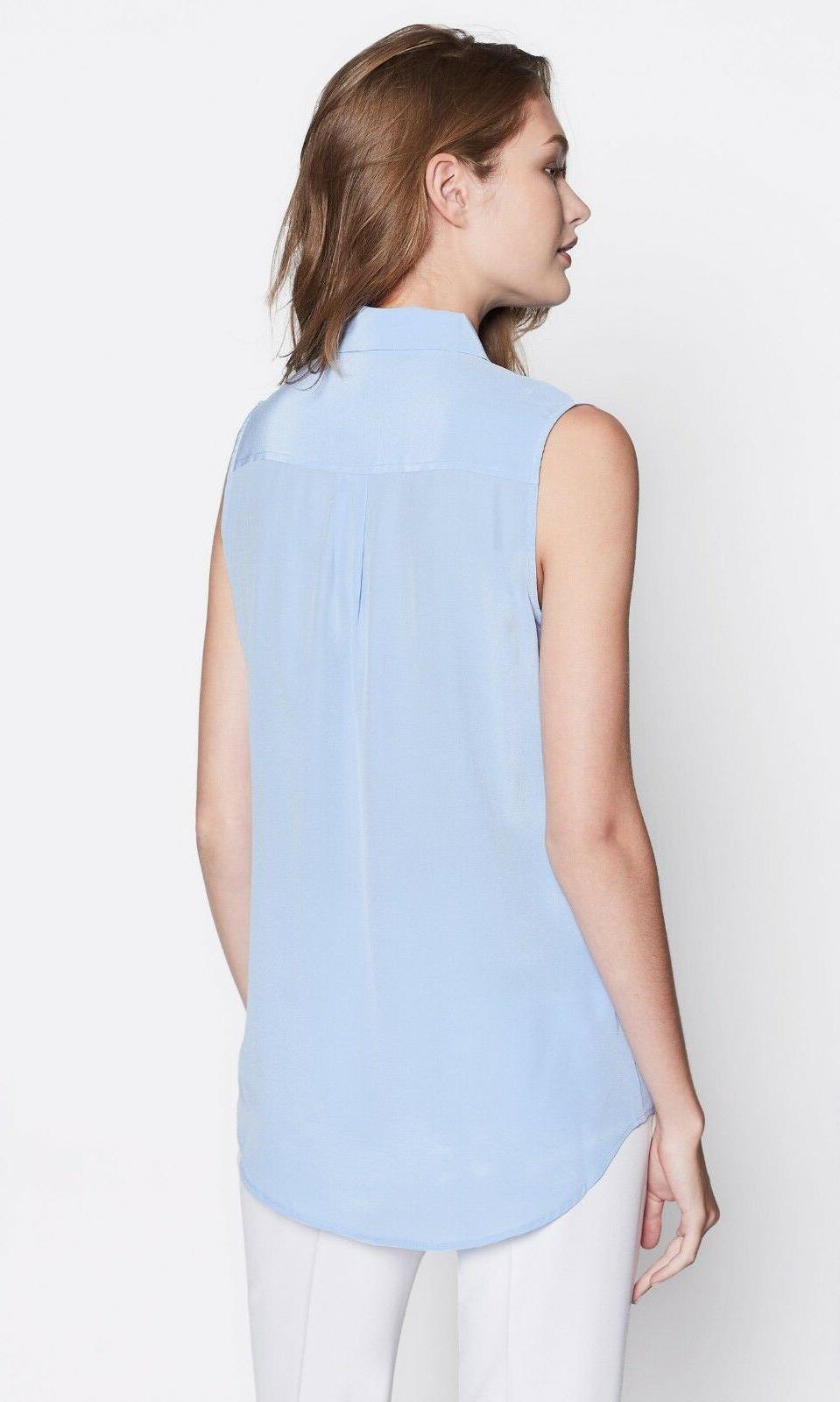 NWT Equipment Sleeveless Signature Silk Blue S, $198