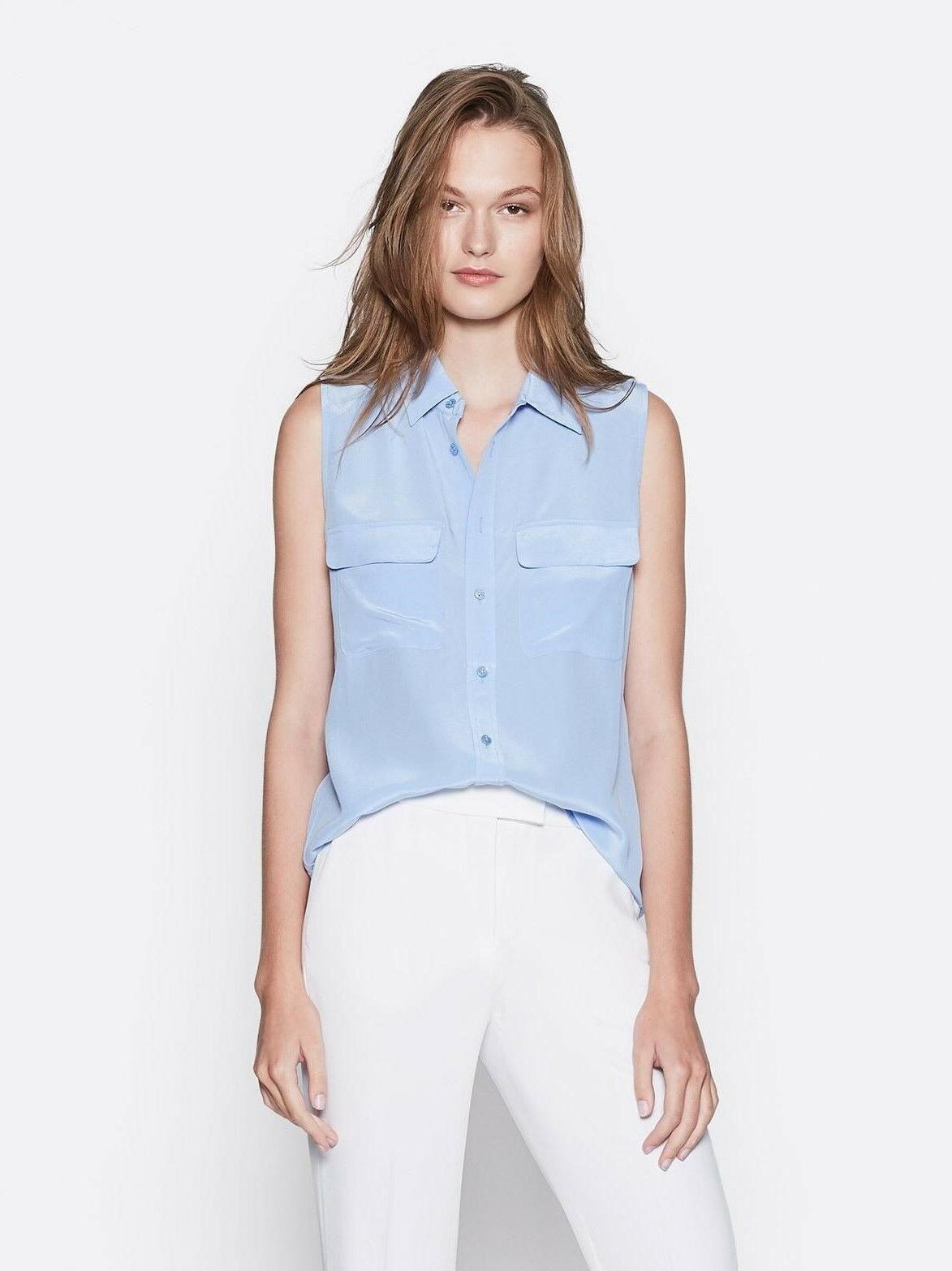 nwt sleeveless slim signature silk shirt aerial