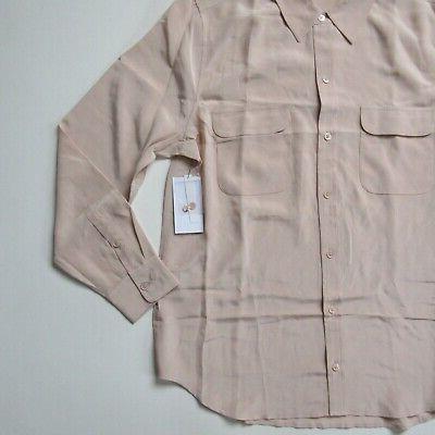 NWT Equipment Slim in French Nude Silk Button Shirt XL