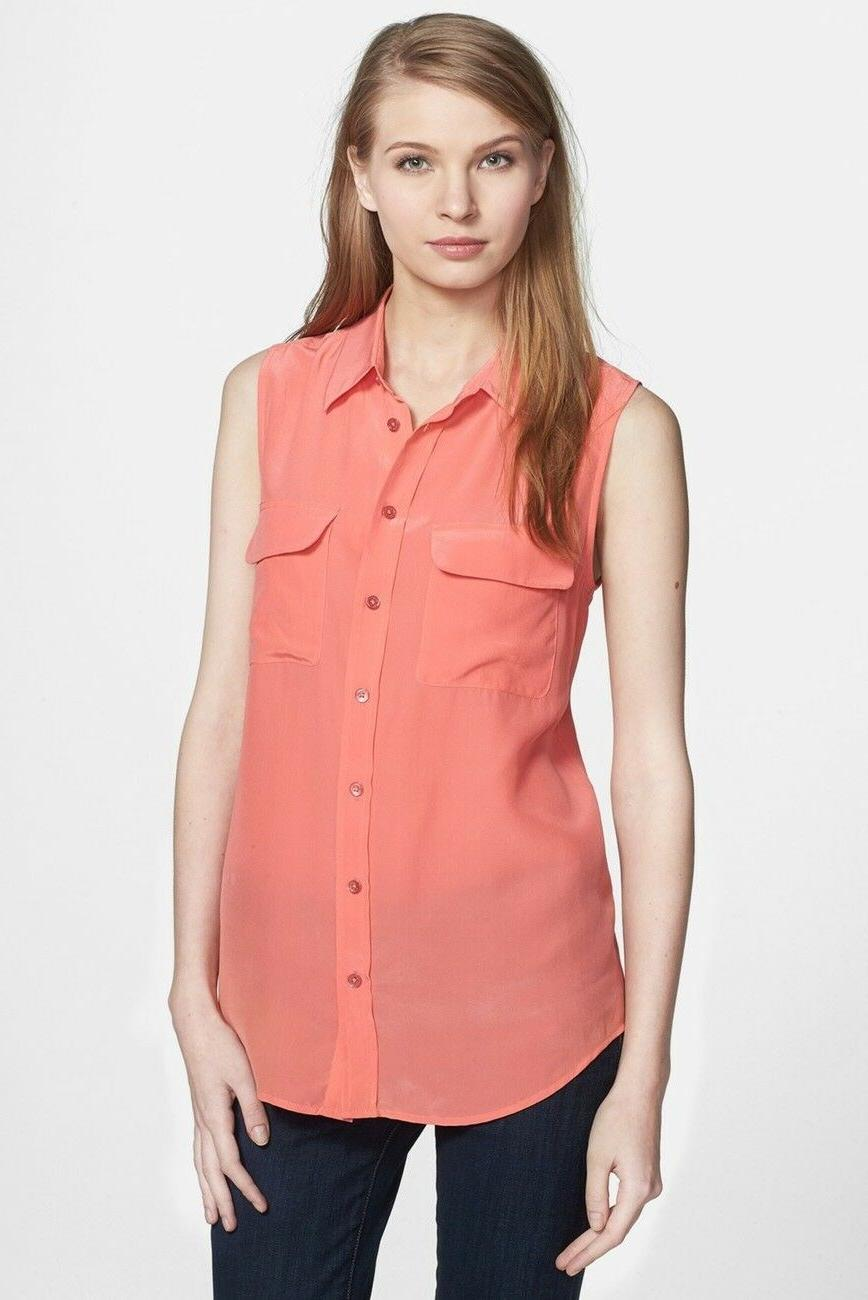 NWT Sleeveless Silk Coral