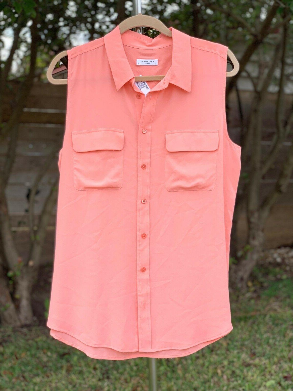 NWT Equipment 'Slim Sleeveless Silk Coral LARGE