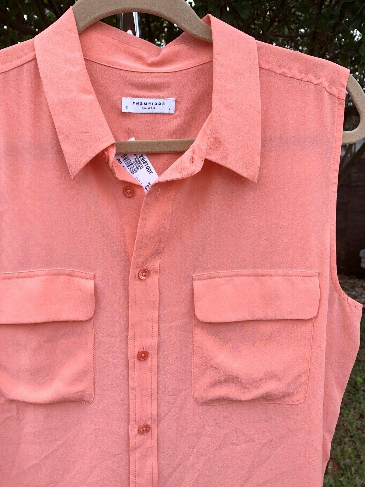 NWT Equipment 'Slim Signature' Sleeveless Coral LARGE