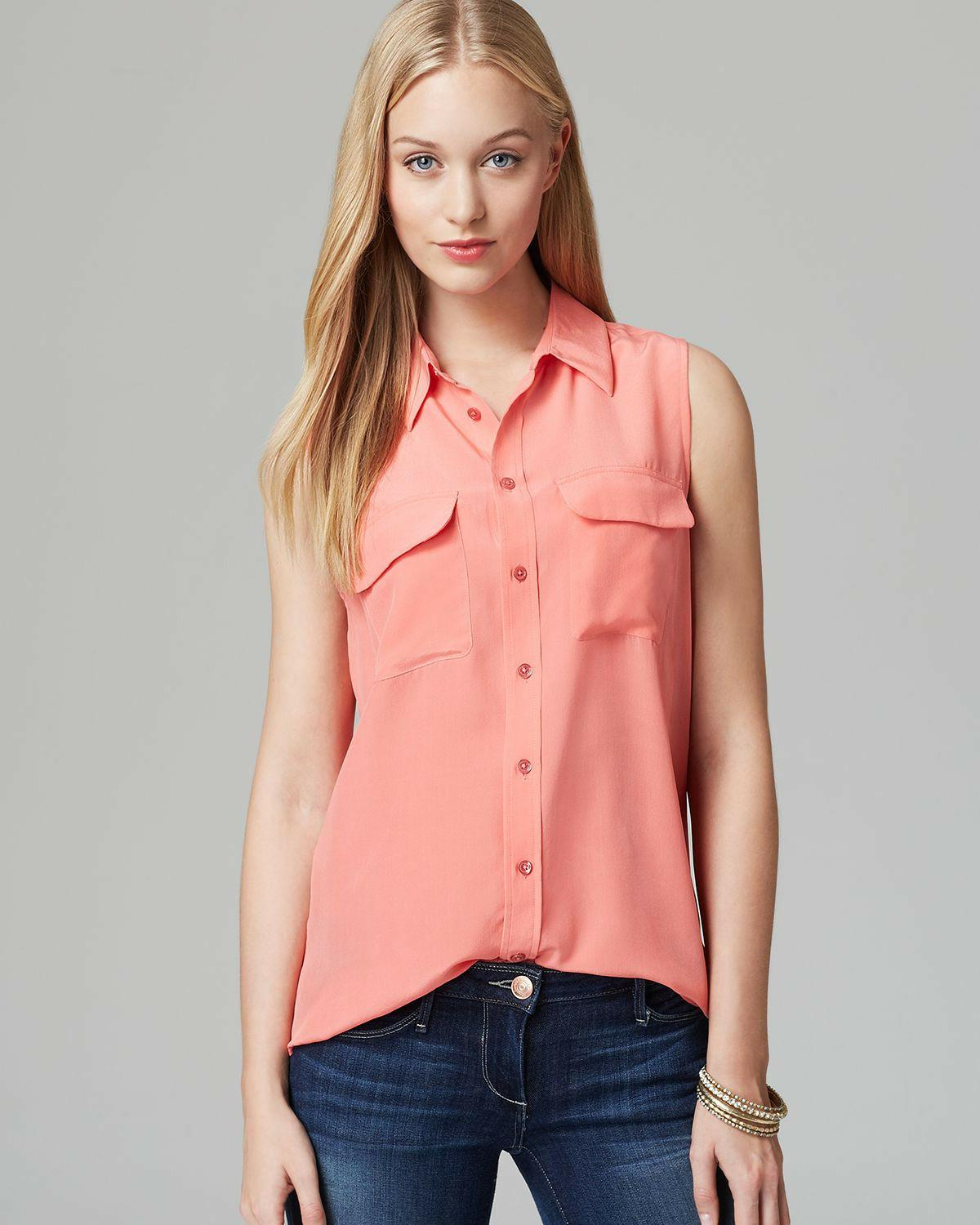 nwt slim signature sleeveless silk shirt coral