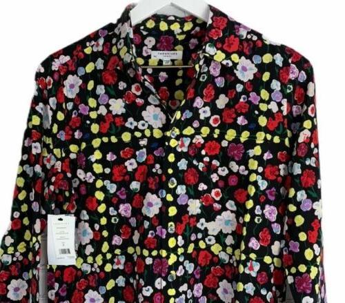 NWT EQUIPMENT Womens Black Floral Slim Sleeve Small $278.00