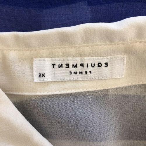 Equipment NWT XS Striped Sheer Silk Button Down Shirt Blue White