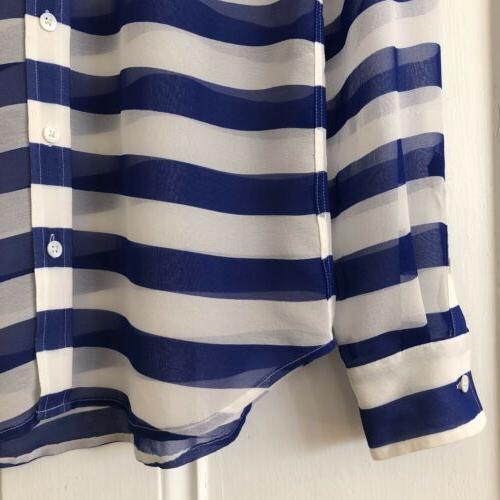 Equipment NWT XS Striped Sheer Silk Down Top Blue White