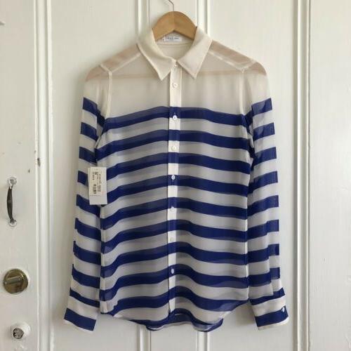 nwt xs brett striped sheer silk button