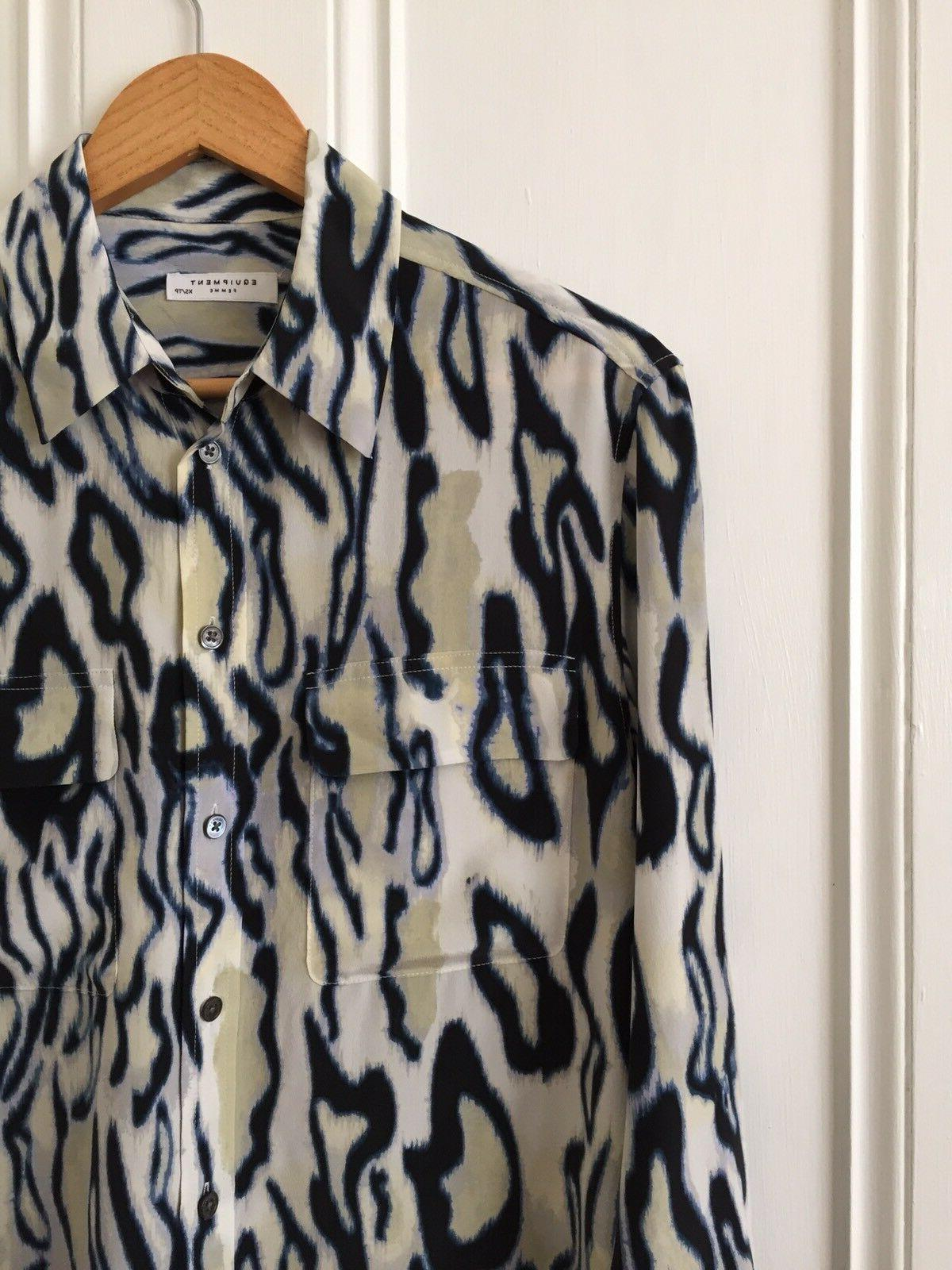 Silk Blouse Top Animal Print Blue