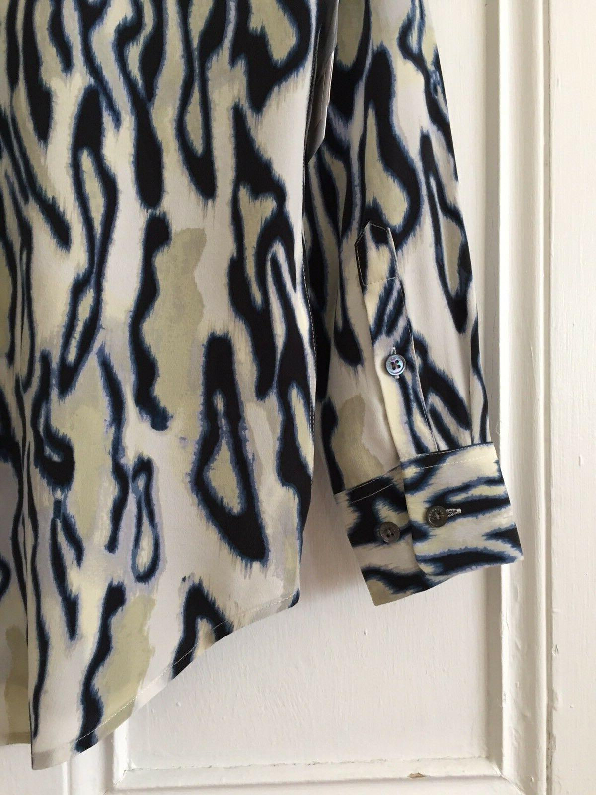 Equipment NWT XS Blouse Top Animal Print Blue