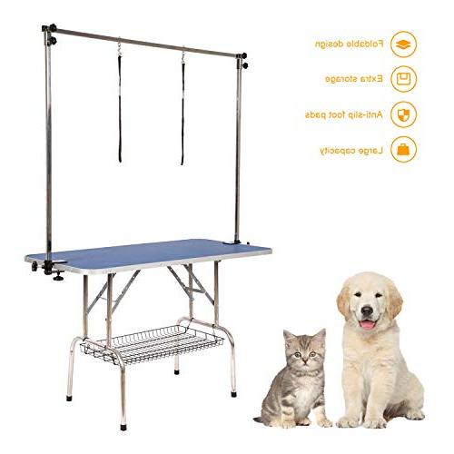 Peach Large Folding Dog Pet Table Heavy Duty Stainless Cat Foldable with Arm&Noose Rubber Mat, 30-Inch, Up to