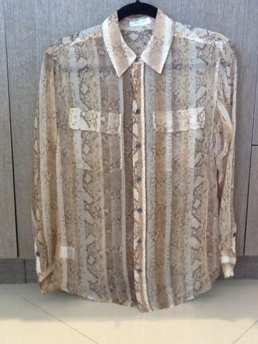 sale python print silk shirt xs nwt