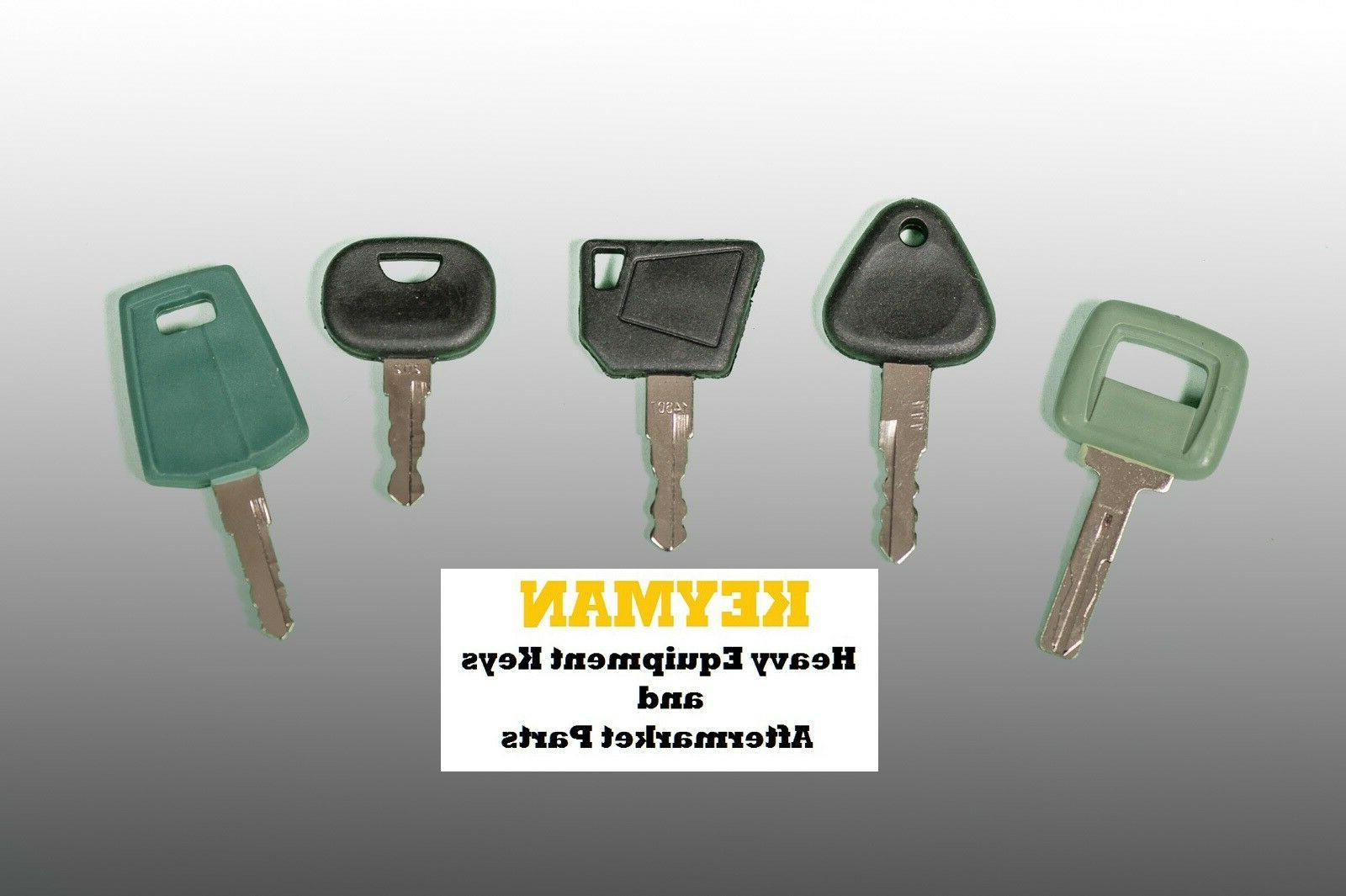 Set of 5 Volvo Keys - Heavy Equipment Key Set w/ Laser - NEW
