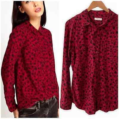 signature 100 percent silk rhubard red blouse