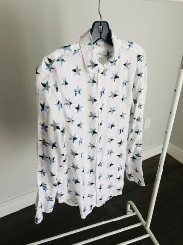 silk blouse star print xs