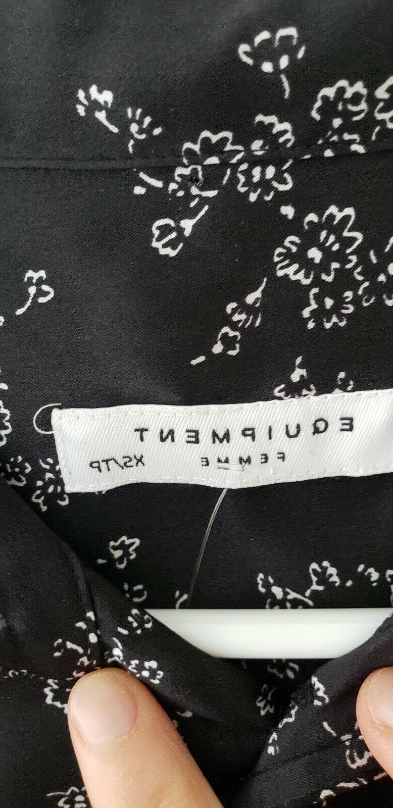 slim signature black silk blouse nwt size