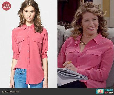 "Equipment ""SLIM Silk Shirt Carmine Pink,"