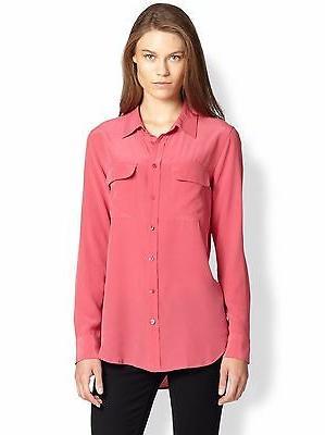 "Equipment ""SLIM Signature"" Silk Shirt $214, Pink, SZ XS,"