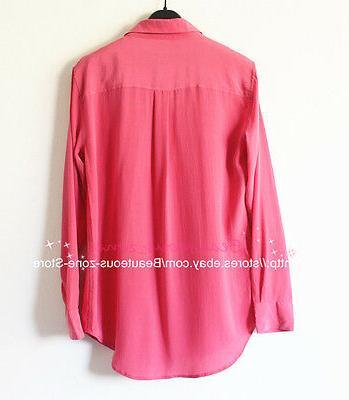 "Equipment Signature"" Silk Shirt Carmine / Pink, S"