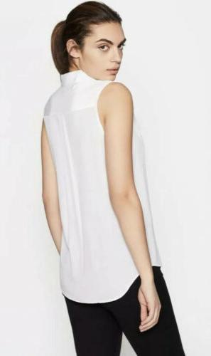 Equipment Slim Sleeveless Silk White Shirt $195