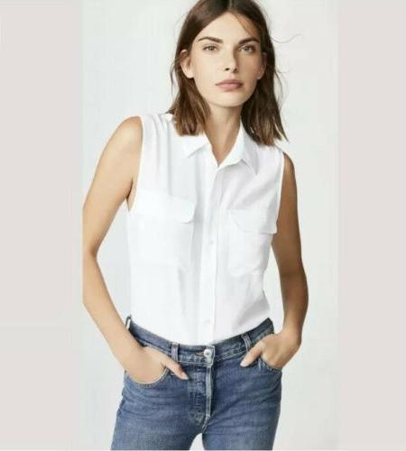 slim signature sleeveless silk bright white shirt