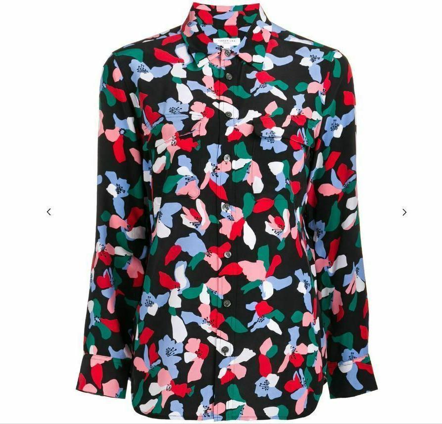 Equipment Slim Slik Shirt Blouse In True sz S