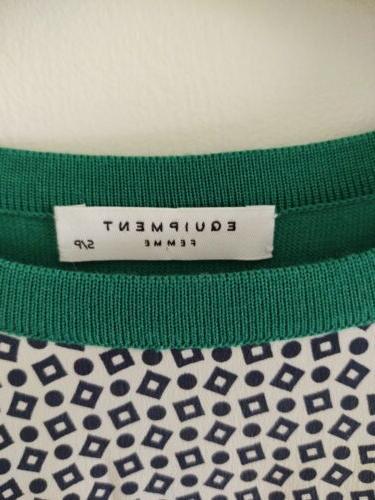 Equipment Sweater Green Blue Wool S