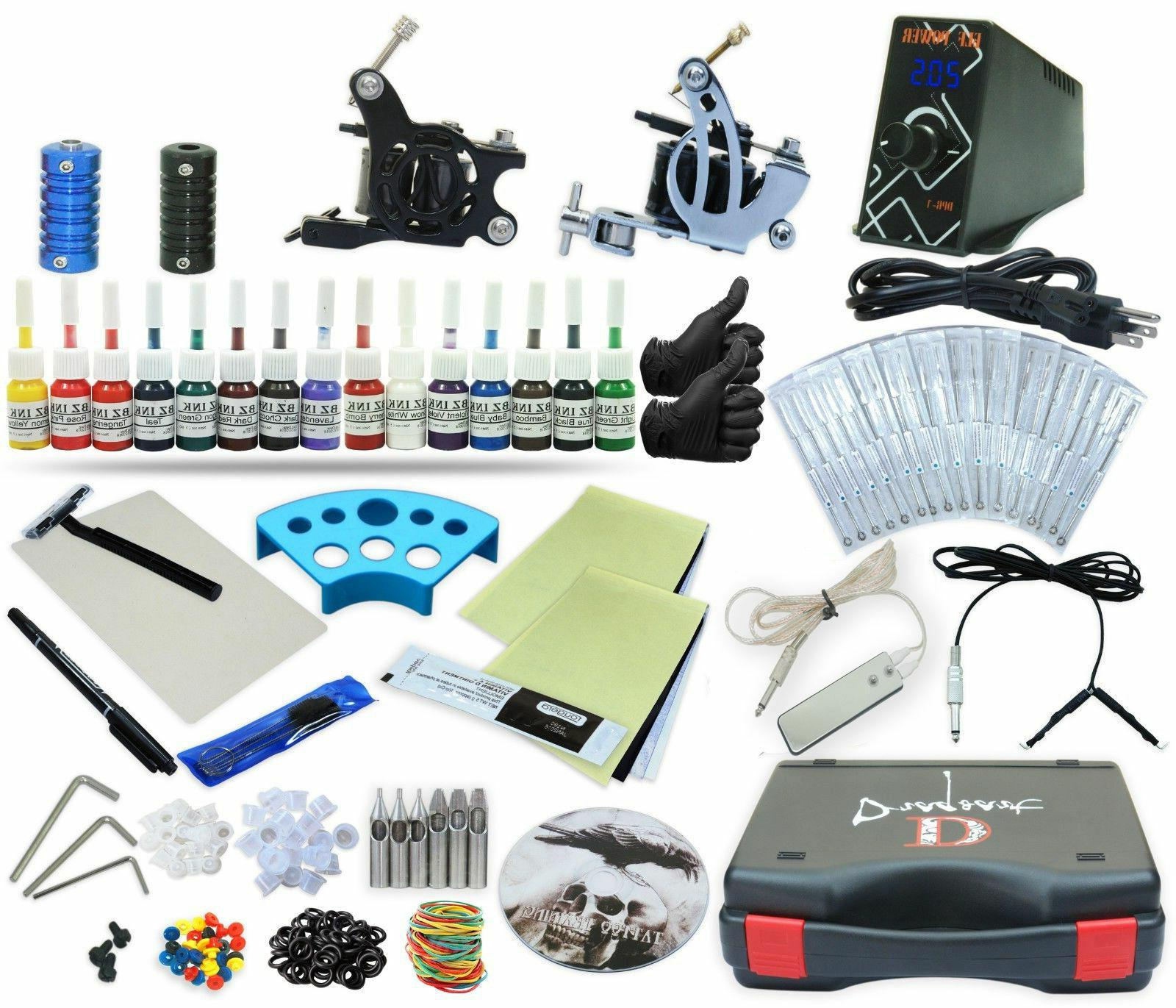 Tattoo Kit 2 Machine Set Equipment Power Supply 15 Color Ink