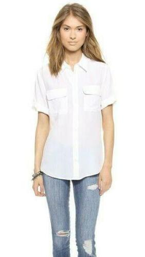 Womens Slim Equipment 100% Silk Tops Shirt SZ