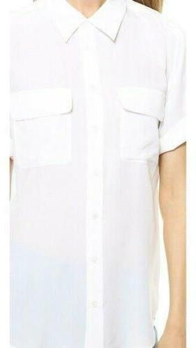Womens Slim 100% Silk Short Tops Shirt White