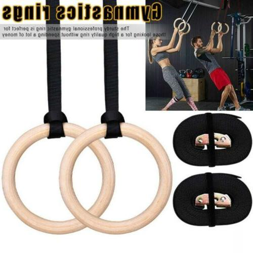 wooden gymnastics rings gym training strength fitness