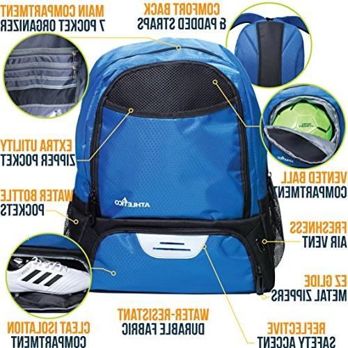 Athletico Youth - Soccer Backpack Bags for Basketball, Volleyball & Football Kids, Girls and Ball Compartments