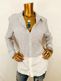 Equipment M Top Striped Sheer 100% Silk Logo Button Down Shi