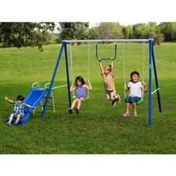 Metal Swing Sets with Slide For Kids 2-12 y.o. Outdoor Fun P