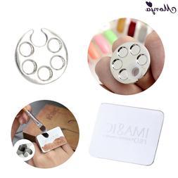Monja Mini Nail Art Metal Finger Ring Palette Mixing Acrylic
