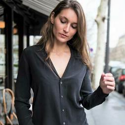 "NEW $218 Equipment ADALYN Silk Shirt ""BLACK"" XS S M"