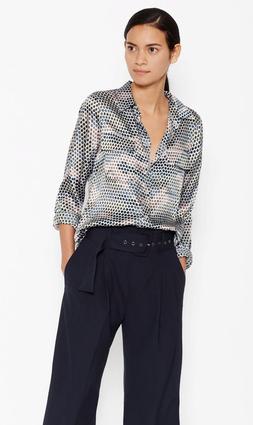 New Equipment $278 Slim Signature Silk Shirt, Mineral Grey M
