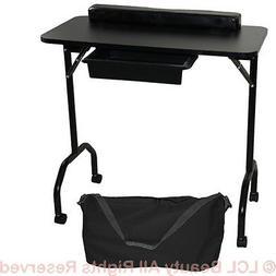 New Black Portable Manicure Nail Table Station Desk Spa Beau