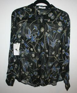 New Equipment Femme Daddy Tie Front Black Floral Silk Blouse