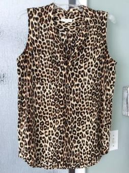 New Equipment Femme Womens Small Silk Blouse Top...Leopard P