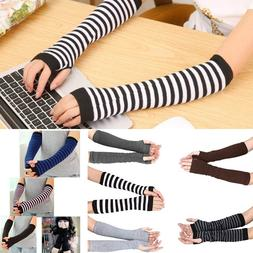 New Lady Women Stretchy Soft Knitted Wrist Arm Warmers <font