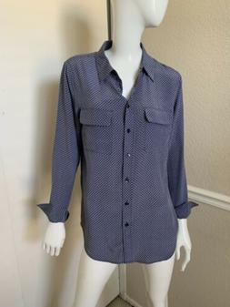 Equipment Femme NEW! Navy Blue/White Print 100% Silk Blouse