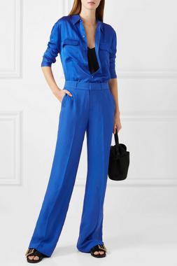 nwot 230 signature blue satin shirt s