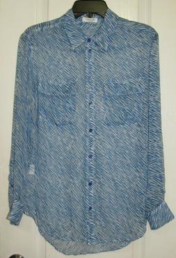 NWOT Equipment Femme Silk Blue/White Zebra Print Blouse Sz.S