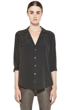 NWT $218 Equipment Black Keira  Washed Silk Pajama Style Blo