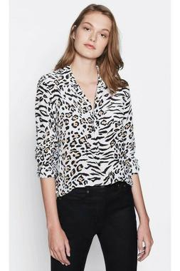 NWT $278 EQUIPMENT Essential Animal Print Silk Crepe Classic