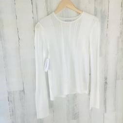 NWT $280  EQUIPMENT FEMME Laurier Sweater White Open Knit S