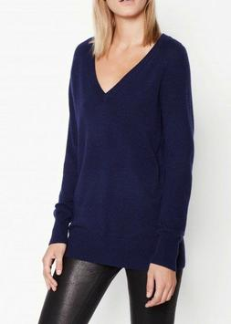 NWT $288 EQUIPMENT 'Asher' Cashmere V-Neck Sweater, Peacoat,