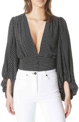 "NWT $328 EQUIPMENT ""Sola"" Polka Dot Banded Waist Silk Plunge"