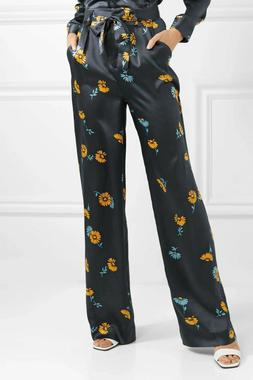 NWT $395 Equipment Evonne Belted Silk-satin Wide-leg Pants 1
