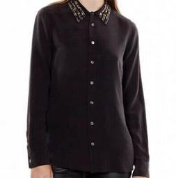 NWT Equipment Brett Embellished Silk Blouse, Black, M